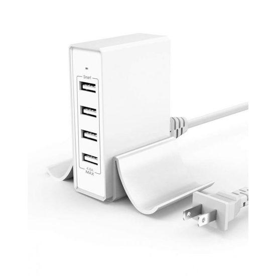 Image sur Chargeur Rapide Smart USB - 4 ports Avec Adaptateur Secteur - Blanc - 12 Mois