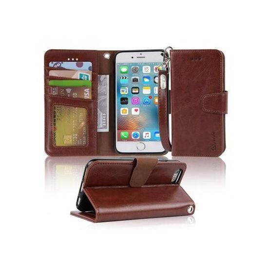 """Image sur Pochette pour iPhone 6s/6 - 4,7"""" - Etui portefeuille en cuir PU avec pochette pour carte de crédit et ID - Marron - 12 Mois"""
