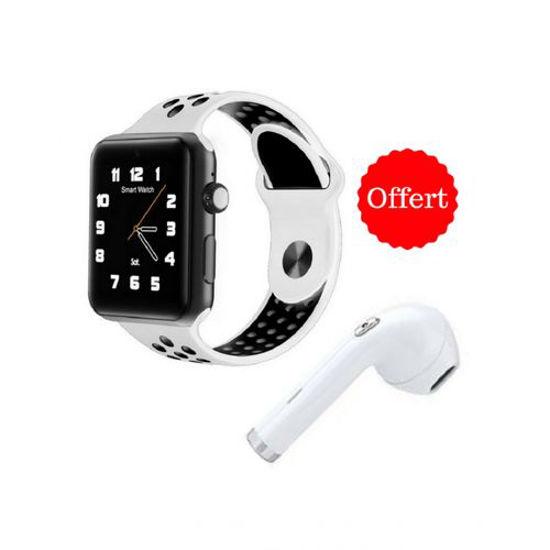 Image sur Montre Connectée M3 - Carte SIM - Bluetooth - Compatible Android/iOS - Blanc Et Noir + Écouteur Bluetooth_i7 Blanc