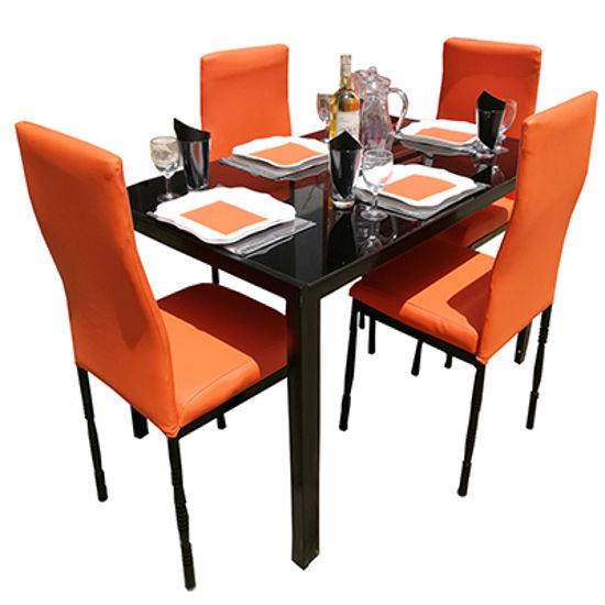 Image sur Salle À Manger Démontable En Verre 4 Places- Très Solide - Orange
