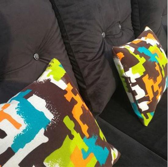 Canapé sofa en velours - 03Places - Séparable - Bleu Foncé et Gris