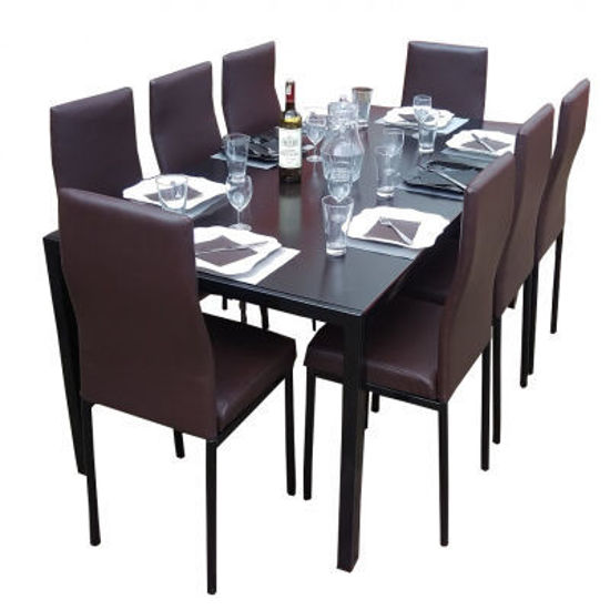 Salle à manger - démontable - en verre - 8 Places - Noir et Blanc