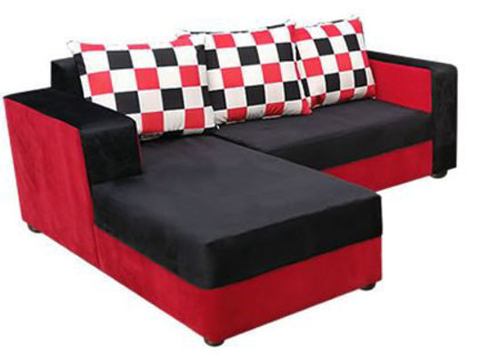 Image sur Salon Complèt En Velour ( 01 Canapé Sofa + 02 Chaises ) - Carrelé de Rouge et Noir