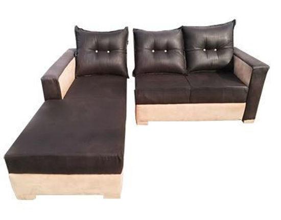 Canapé d'angle 03 places en velour - marron et beige