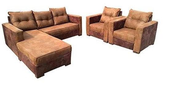 Image sur Salon Complèt En Velour ( 01 Canapé Sofa + 02 Chaises ) - Marron