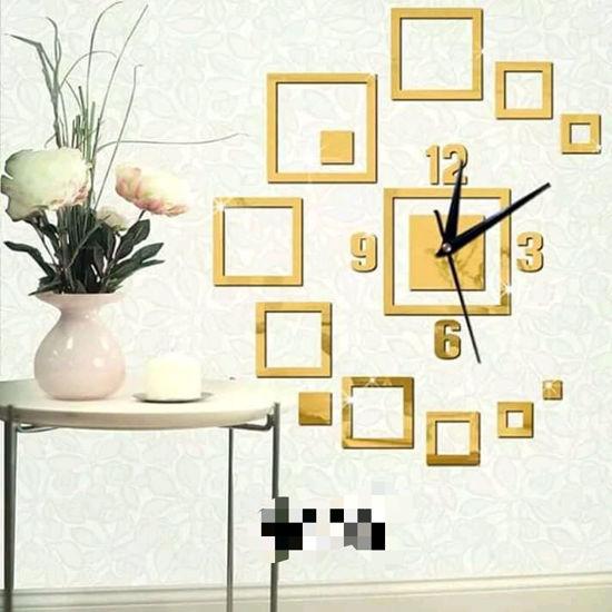 Image sur Horloge Murale 3D - Autocollant - Or