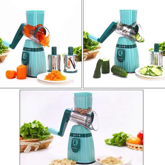 Image sur Hachoir Multifonction Manuel Râpe Rotative Coupe-légumes et fruits - vert