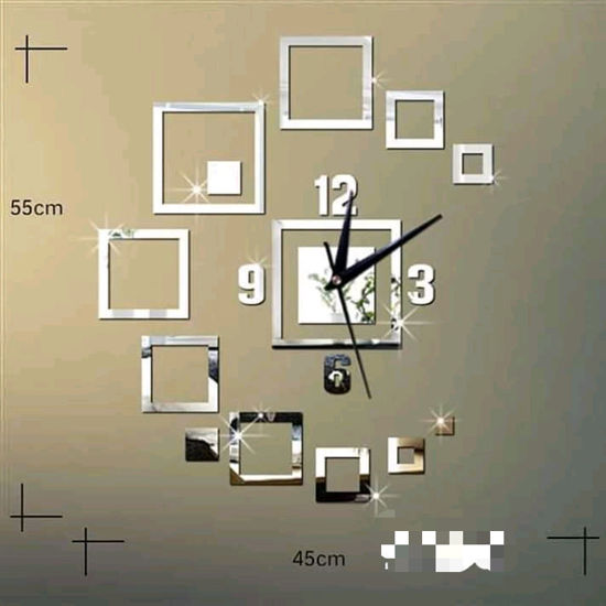 Image sur Horloge Murale 3D - Autocollant - Gris