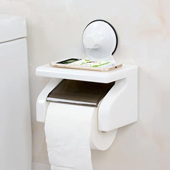 Image sur Porte rouleau de papier toilette Ventouse boîte en plastique avec étagère mobile