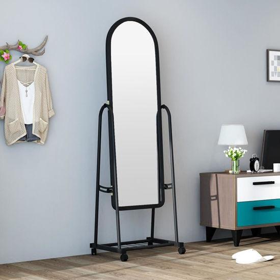 Image sur Miroir Sur Pied Avec Roulette - Noir