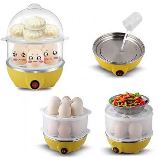 Image sur Cuiseur à œufs -Double Couche Multifonction -350W -1 A 14 Oeufs