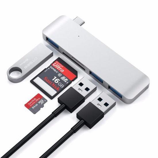Image sur Adaptateur combo 3 en 1 de type c vers USB v2.0 480Mpbs high speed - Gris