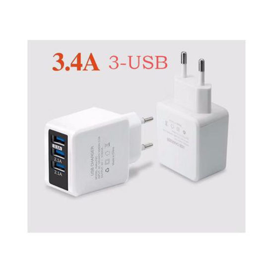 Image sur Boitier De Charge Intelligent 3 Ports USB 3.4A - Blanc