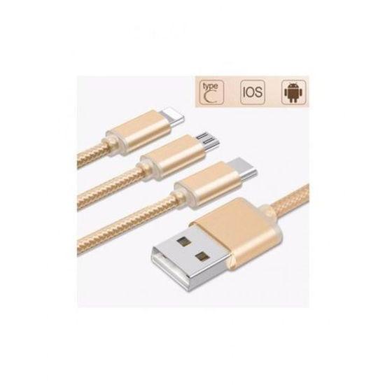Image sur Câble De Charge USB 3 En 1 Pour IPHONE / ANDROID / TYPE C - Jaune Or