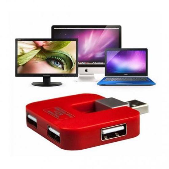 Image sur Multiplicateur 4 ports Usb 2.0 Haute Vitesse splitter 480Mbps Adaptateur - Rouge