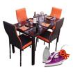 Image sur Salle à manger - Démontable - en verre - 4 places - très Solide - Noir & Orange