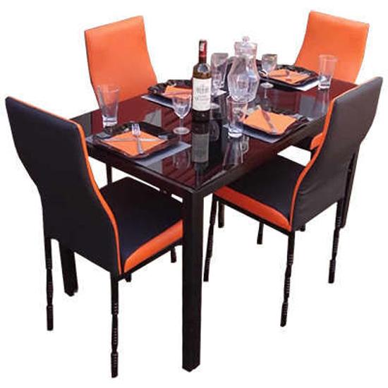 Image sur Salle à manger - Démontable - en verre - 4 places - très Solide - Noir & Orange - BF