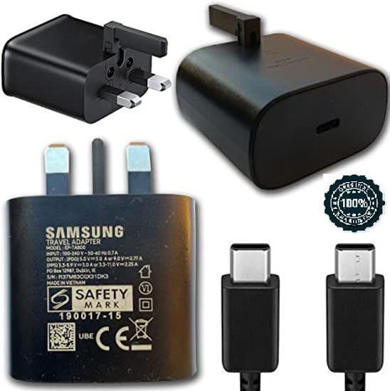 Image sur Samsung Chargeur ( Boitier + cordon sortie c ) Secteur Ultra Rapide 25W Noir