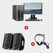 Image sur Ordinateur complet HP compaq 6300 MT + haut-parleurs light wave LW SP12 + casque audio light wave LW 010