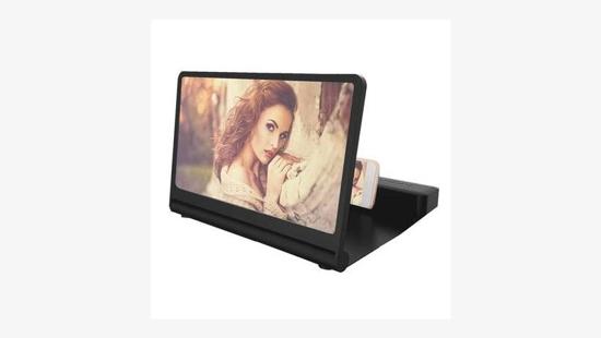 Image sur Projecteur d'amplificateur d'écran de téléphone portable 6D HD pour films, jeux avec haut parleur bluetooth rechargeable