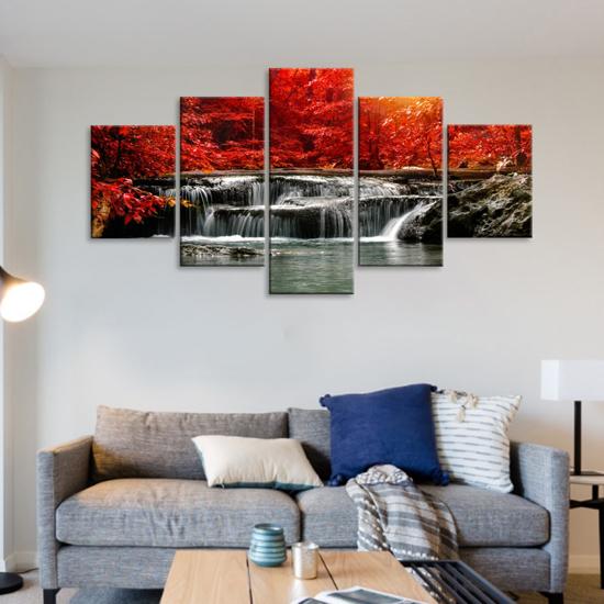 Image sur Tableau décoration d'intérieur - Chute d'eau forêt rouge