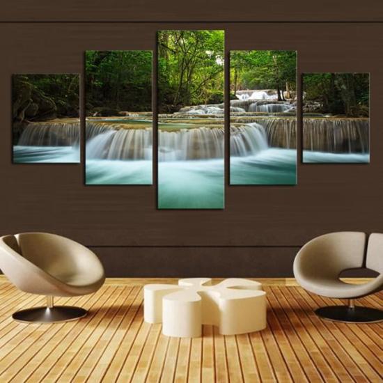 Image sur Tableau décoration d'intérieur - Chute d'eau forêt verte