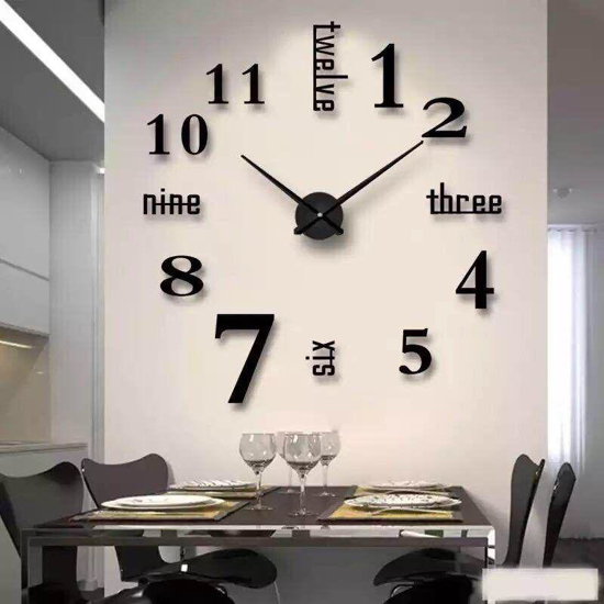 Image sur Horloge Murale 3D - Autocollant - Grand Chiffre - Noir