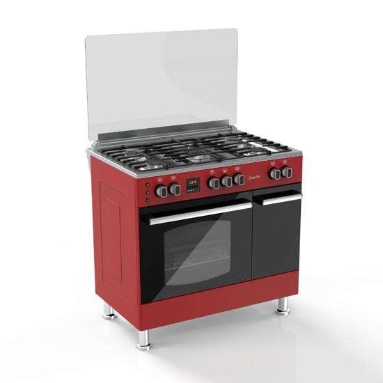 Image sur Cuisinière A Gaz - SOGO6060R - 5 Foyers - 60 x 60 cm - Rouge