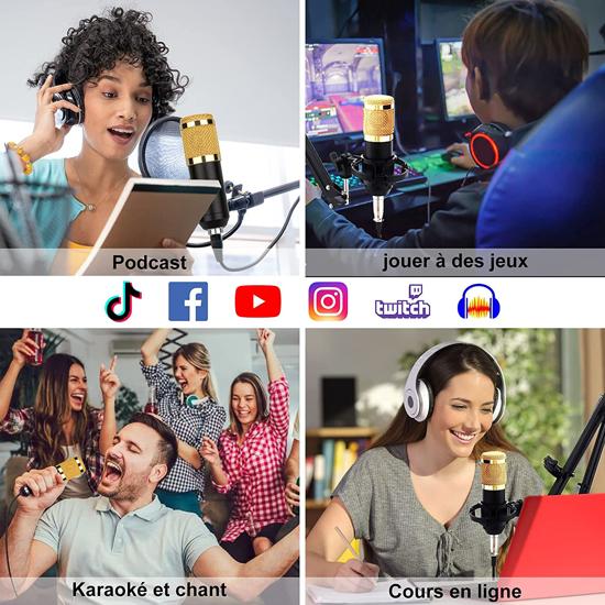 Image sur Microphone professionnel à condensateur, à enregistrement vocal, pour téléphone, PC, Kit, karaoké, carte son, BM800 - garantie: 3 mois