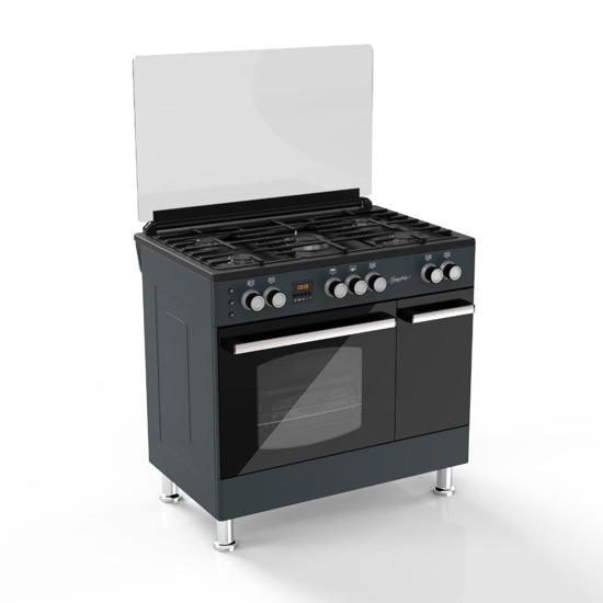 Image sur Signature cuisinière 60*90 - SOGO6090-BC-BLK -, Inox top - 6 Mois Garantis