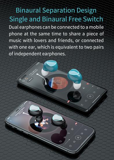 Image sur Ecouteur Bluetooth M22 tws - V5.0 couleur noir, Lot de 4 mini écouteurs M22 Bluetooth 5.1 Réduction du bruit tactile Mouvement stéréo numérique sans fil pour téléphone Noir