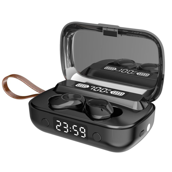 Image sur Écouteurs intra-auriculaires sans fil A 13 tws Bluetooth 5.1, IPX7 avec micro appariement automatique TWS stéréo avec lampe de poche LED, contrôle tactile, pour la gym, la course à pied, peut charger les téléphones mobiles, lumière respiratoire