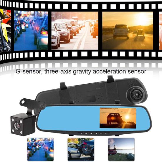 Image sur Caméra de Recul, pour Voiture Miroir Dash Cam, Détection de Mouvement, Grand Angle 90-110 °, étanche, Caméra de Rétroviseur à Double Objectif, Choc de Tension Anti-surtension, Anti-Vibration