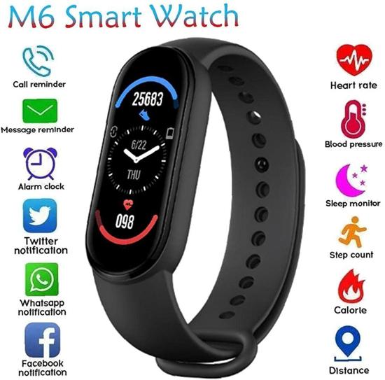 Image sur Smart Watch M6 Fitness Tracker Bracelet Watch Support Traffret cardiaque Pression artérielle IP67 Activité imperméable.