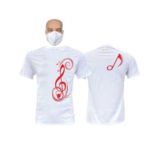 Image sur T-shirt et masque en coton - Courtes manches - Sol - Blanc
