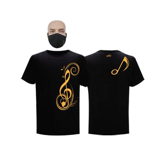 Image sur T-shirt et masque en coton - Courtes manches - Sol - Noir