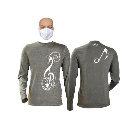Image sur T-shirt et masque en coton - Longues manches - Sol - Gris
