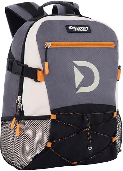 Image sur Sac à dos Discovery Multisport Backpack décontracté pour homme & femme - 29 x 20 x 40 cm - Gris/Noir et Orange