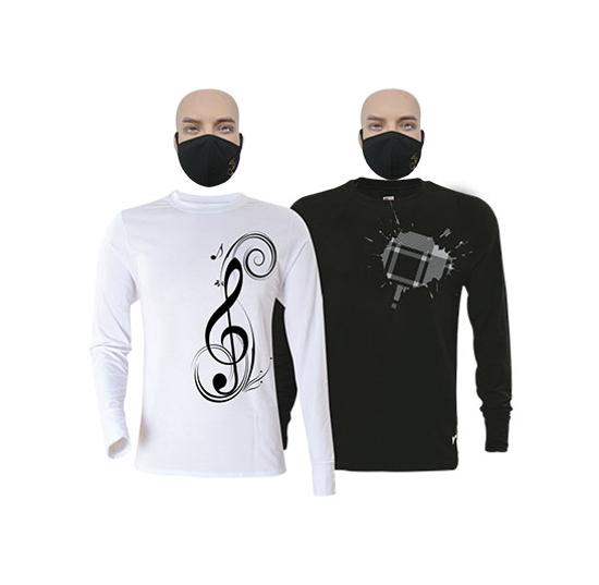 Image sur T-shirts et masques en coton - Longues manches - Sol et tache 2 blanche - 2 pièces - Blanc et Noir