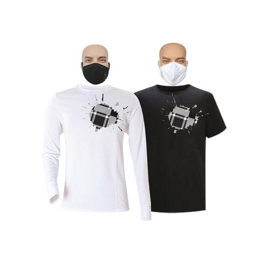 Image sur T-shirts et masques en coton - Courtes manches - Sol et tache 2 bleu - 2 pièces - Noir et blanc