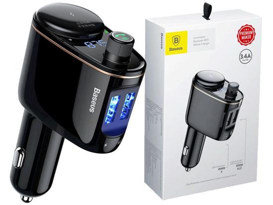 Image sur Baseus Car Wireless Bluetooth V4.2 Transmetteur FM Lecteur MP3 3.4A Double chargeur de voiture USB, Support U-disk et Appels mains libres (Noir) - 12 Mois