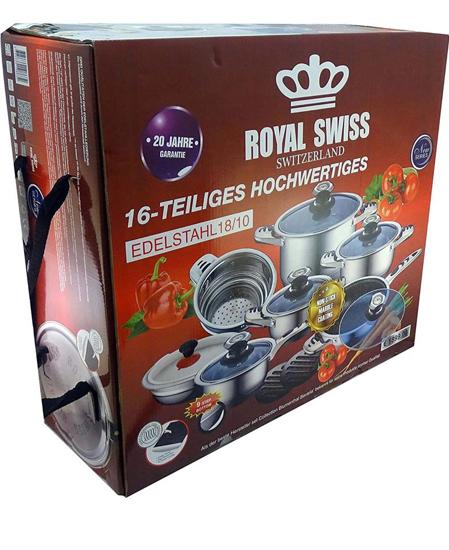 Image sur Batterie de cuisine 16 pièces en inox. ROYAL SWISS- 03 mois