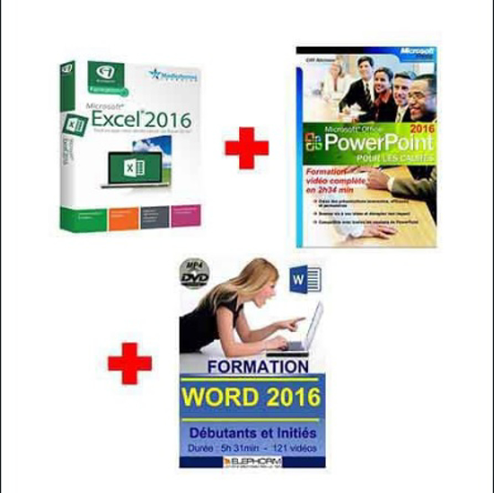 Image sur PACK 3 DVD FORMATION : WORD 2016 - EXCEL 2016 - POWERPOINT 2016 (12h 39 min)