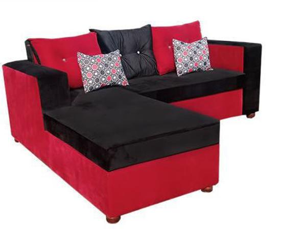 Canapé sofa en velours - 03Places - Séparable - Noir et rouge