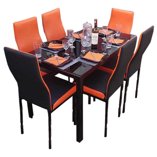 Image sur Salle À Manger Démontable En Verre 6 Places - Orange Et Noir