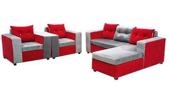 Salon complet en velours (  01 Sofa + 02 Chaises ) - Rouge et gris
