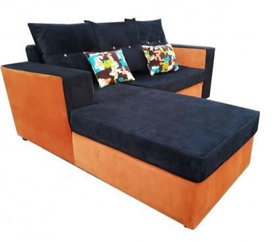 Salon complet en velours ( 01 Canapé Sofa + 02 Chaises ) - Bleu foncé et orange
