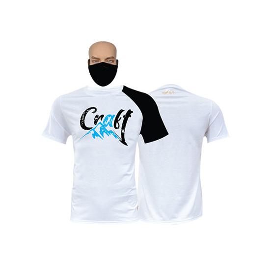 Image sur T-shirt et masque en coton - Courtes manches - Craft - Blanc et noir