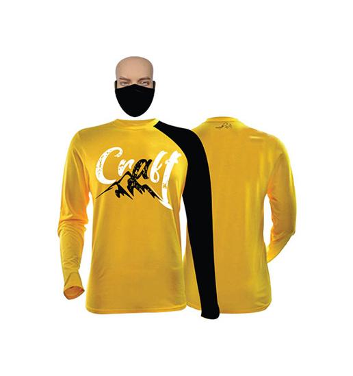 Image sur T-shirt et masque en coton - Longues manches - Craft - Jaune et noir