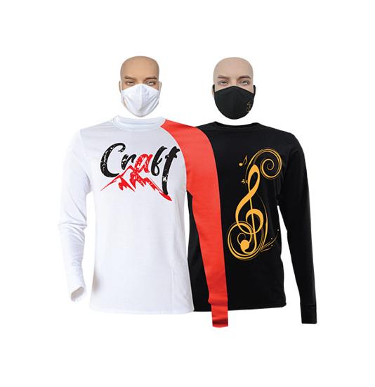 Image sur T-shirts et masques en coton - Longues manches - Craft et Sol - 2 pièces - Blanc,rouge et Noir